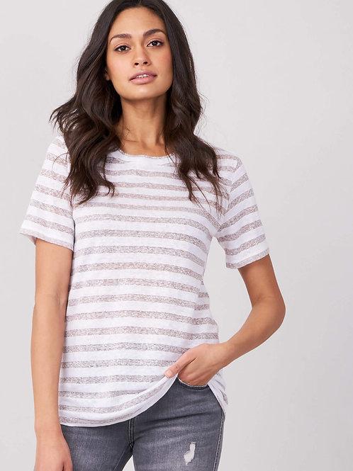 Repeat Cashmere | Lurex Stripe Linen T-Shirt