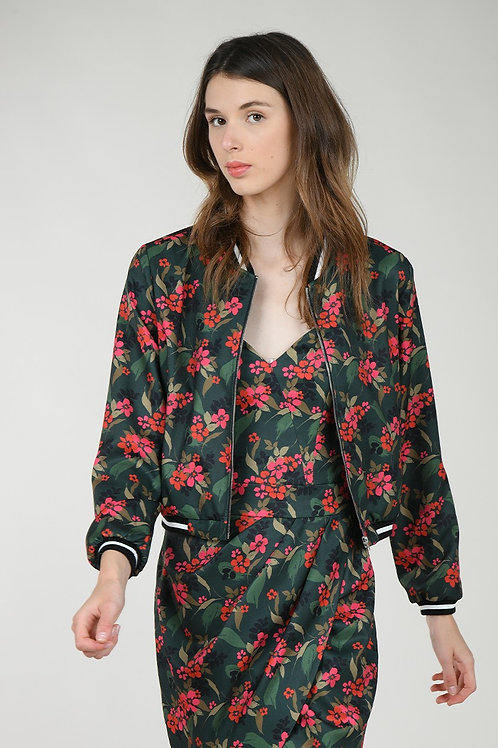 Molly Bracken | Floral Printed Bomber Jacket