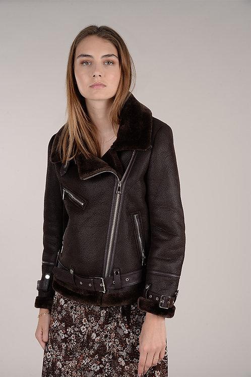 Molly Bracken | Faux Sheep Skin Moto Jacket