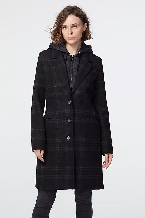 IKKS   Plaid Coat with Hoodie