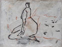Zeichnung auf Zeitungspapier
