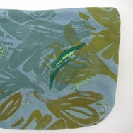 Lily zipper pouch with block printed layers and embroidery, edition of 2. Sold out.