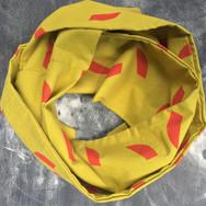 Block printed green infinity scarf Fin