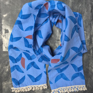 Cotton scarf with hand crochet linen pom-pom fringe. Available.