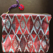 Diamond zipper pouch, block printed cotton and crochet zipper pull. Sold.