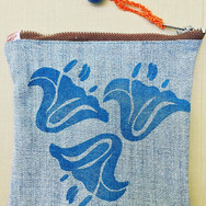 Lily block printed zipper pouch with vintage button detail, up-cycled denim. Sold out.