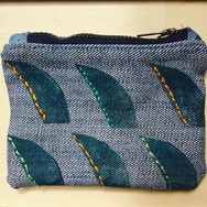 Fin coin pouch, block print on up-cycled denim. Sold Out.