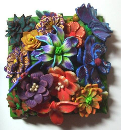 10x10 tile made by members of South Midlands branch for the Fimo 50 Project