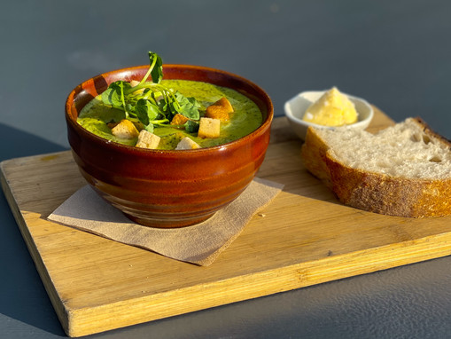 Watercress and minted pea soup