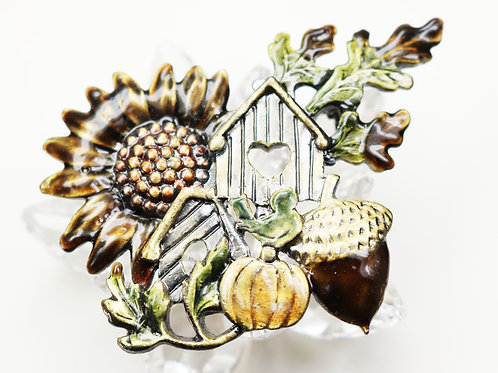 KC Autumn Sunflower Birdhouse Acorn Pumpkin Brooch ~ Rich Fall Enamels