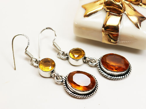 Citrine Semi-Precious Gemstones in Sterling Silver ~ Citrine and Quartz