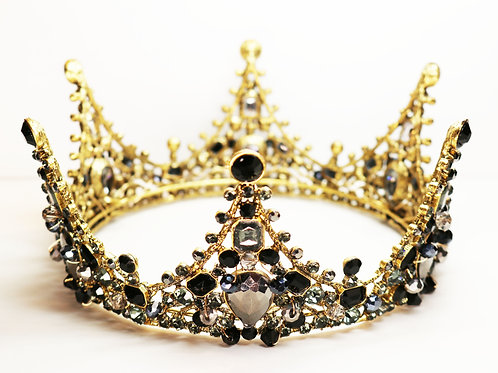 BLACK CRYSTAL CROWN ~ Black and Gunmetal Grey Crystal Embellished Gold Tone