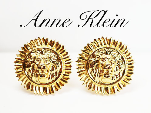 VINTAGE 1980s ANNE KLEIN Lion's Head Gold Clip-on Sunflower Statement Earrings