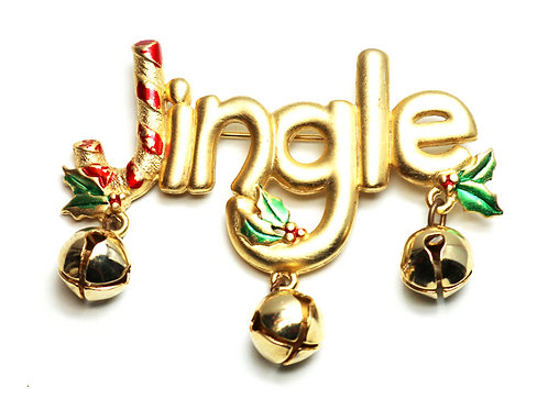 VINTAGE JJ JINGLE BELL BROOCH ~ Matte Gold Plating and Cheerful Holiday Bells