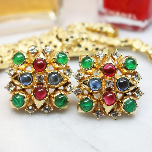 Vintage CINER Bejeweled Earrings - Ruby Red, Sapphire & Emerald Green Cabochons