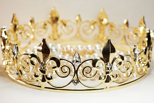 GOTHIC GAME of THRONES Style Crown ~ Clear Crystal Embellished Fleur de Lis Gold