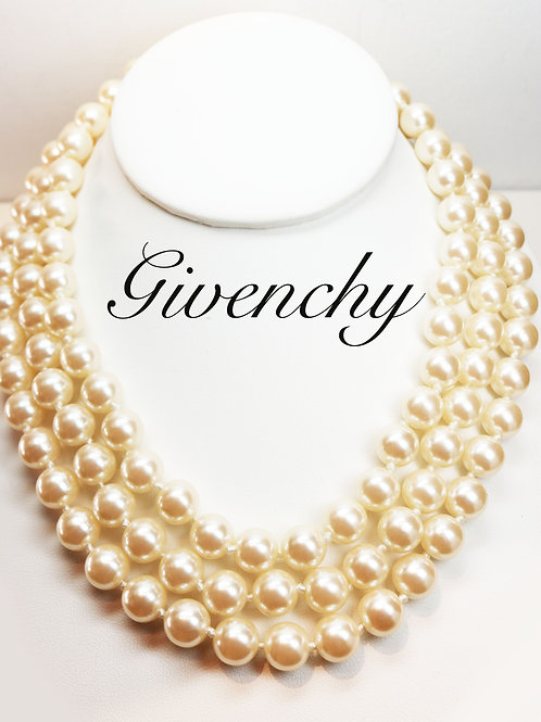 STUNNING VINTAGE GIVENCHY LOGO Triple Strand Pearl Necklace *signed* Givenchy