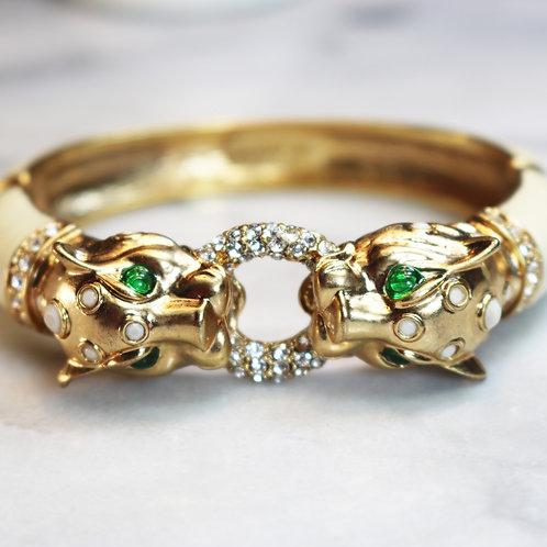J.Crew Gold Panther Bracelet w/ Emerald Green Eyes