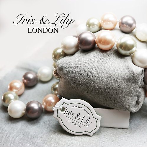 Mother of Pearl Necklace with Tahitian Style 14mm Pearls & Sterling Silver Clasp