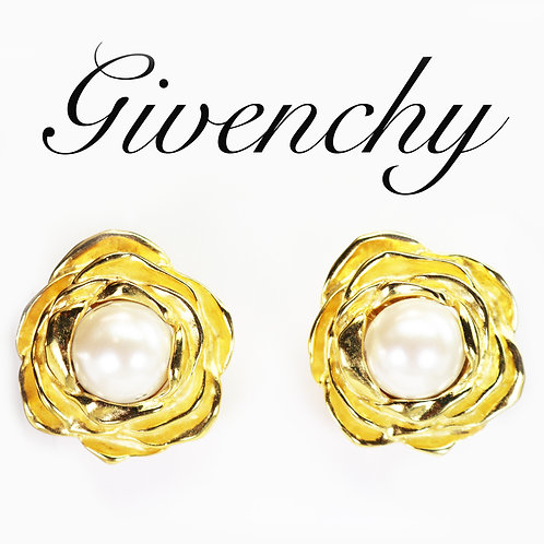 ⚜ Vintage GIVENCHY Glass Pearl in Gold Plated Rose Earrings