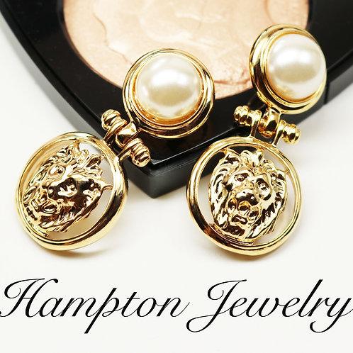 Anne Klein Pearl Lions Head Doorknocker Earrings ~ Pearl Cabochons in Gold Tone