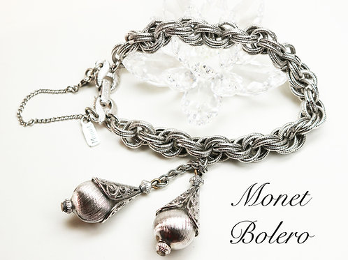 VINTAGE 1961 MONET BOLERO *signed* Triple Plated Silver Statement Bracelet