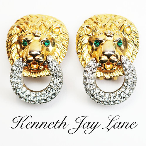 KJL Lion's Head Diamanté Earrings ~ Clear & Green Crystals and Gold Plating