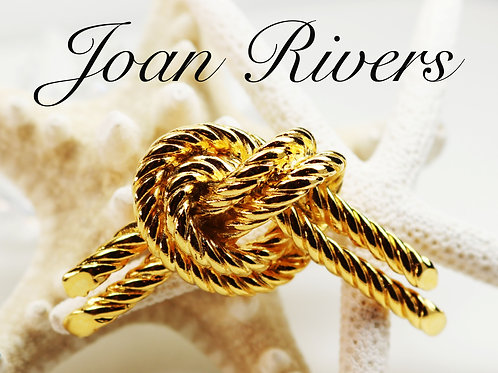 SOPHISTICATED 1990s JOAN RIVERS *signed* Nautical Knot in Gold Rope Setting
