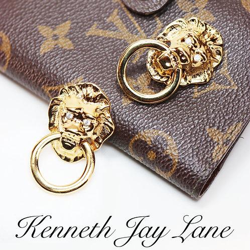 VINTAGE 1986 Kenneth Jay Lane, Lion's Head, Doorknocker Earrings