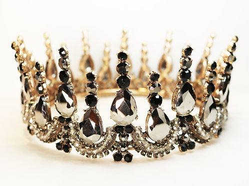 Black & Gunmetal Grey Teardrop Crystal and Rhinestone Encrusted Gold Crown