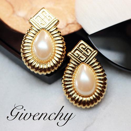 ⚜️ Vintage GIVENCHY Logo & Teardrop Pearl PiercedEarrings