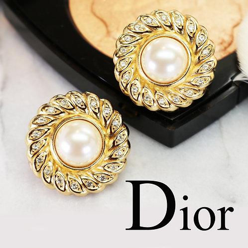 ⚜️ Vintage CHRISTIAN DIOR© Pearl & Austrian Crystal Earrings