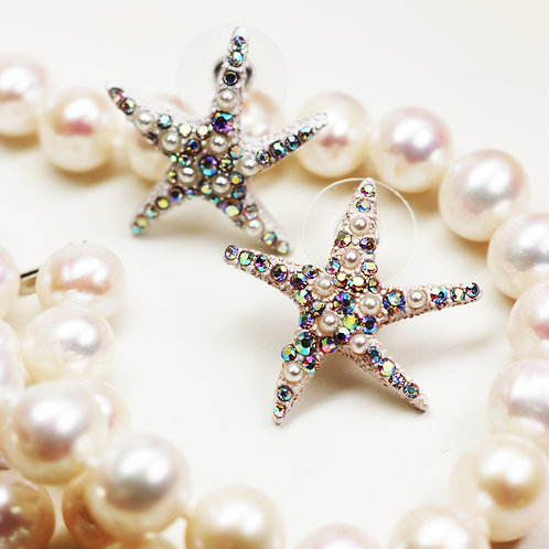 NEW! Betsey Johnson Aurora Borealis Crystal & Seed Pearl Starfish Earrings
