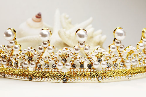 PEARL WEDDING TIARA ~ Clear Crystal Embellished Cream Colored Pearl in Gold