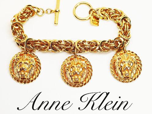 EXQUISITE RARE VINTAGE 1970s Haute Couture Anne Klein Gold Lions Head Bracelet
