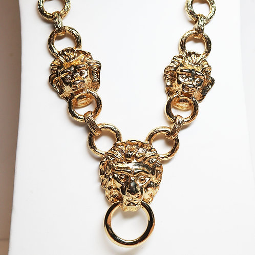 VINTAGE 1980s LION DOORKNOCKER Necklace by Kenneth Jay Lane *signed* Lion's Head