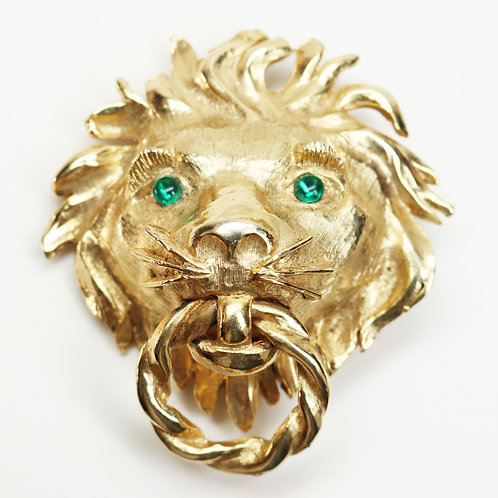 MASSIVE VINTAGE 1960s Gold Lions Head Brooch