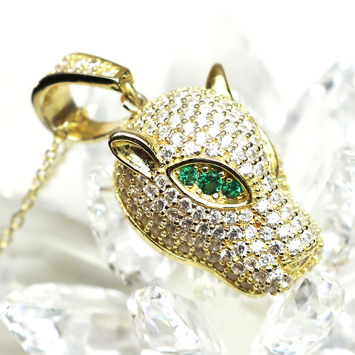 EXOTIC PANTHER HEAD Pendant on Gold Chain *signed* ~ Gold Plated Sterling Silver