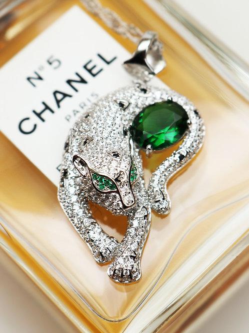 Cote d'Argent Crystal Encrusted Sterling Silver Leopard Necklace