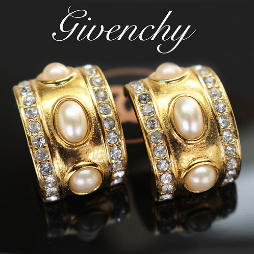 ⚜️ Vintage GIVENCHY Crystal, Gold & Pearl Earrings