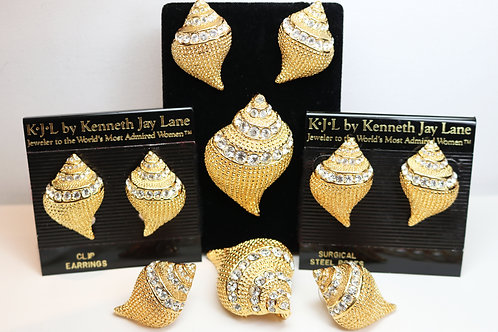 VINTAGE 1990s KENNETH LANE Seashell Earrings & Brooch/Pendant Statement Set