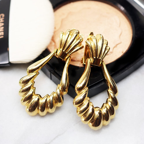 ⚜️ Vintage PAOLO GUCCI Shell Doorknocker Earrings