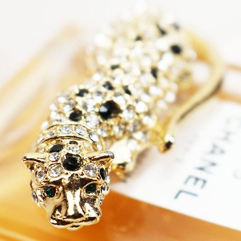 EXOTIC VINTAGE 1960s Kenneth Jay Lane Austrian Crystal & Gold Leopard Fur Clip