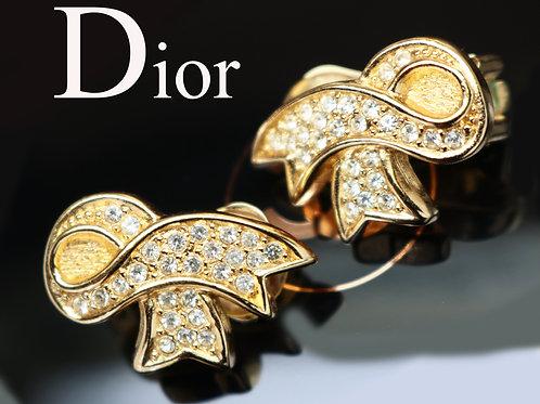 ⚜️ Vintage CHRISTIAN DIOR© Crystal Encrusted Gold Ribbon Earrings - NWT