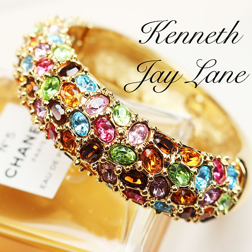 BEJEWELED KENNETH J LANE Bracelet *signed* with Colorful Crystal Cabochons
