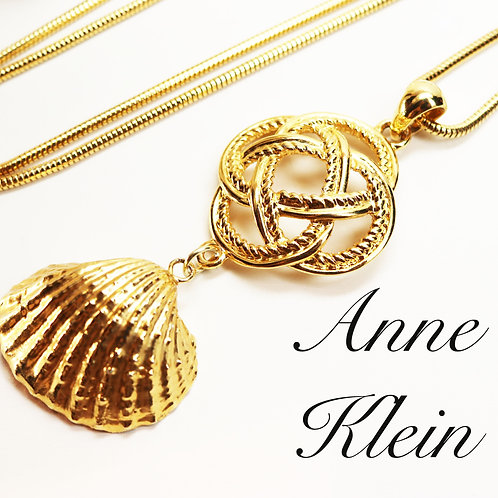 VINTAGE 1980s ANNE KLEIN *signed* Necklace ~ 14K Gold Plated Gold Necklace