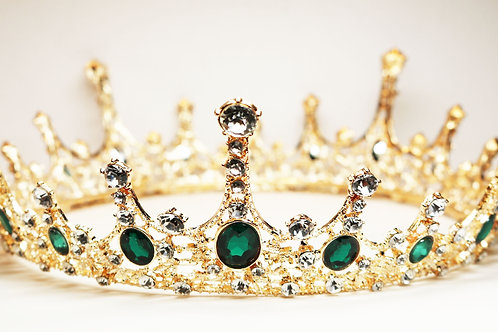 Imperial Emerald Green Crystal Embellished Royal Gold Crown