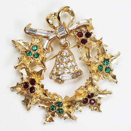 RARE VINTAGE PELL HOLIDAY BROOCH *signed* ~ Red and Green Austrian Crystals
