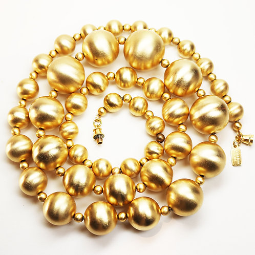 VINTAGE KENNETH JAY LANE GOLD SPHERE STATEMENT NECKLACE ~ 22K Gold Plating