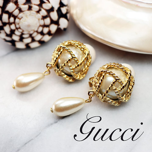 ⚜️ Vintage PAOLO GUCCI Caged Pearl Drop Earrings